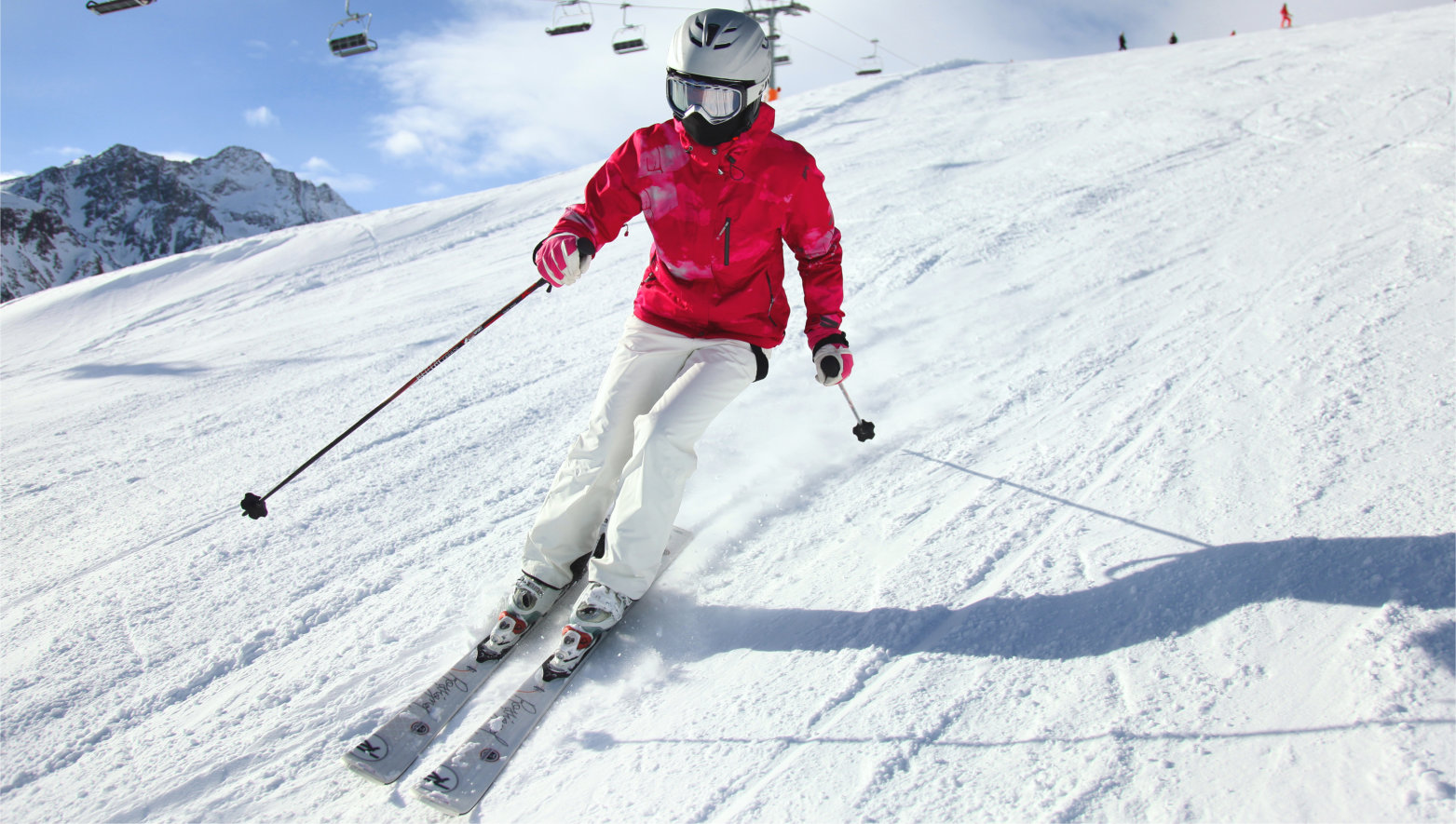 Young,Woman,Skiing.,Alps