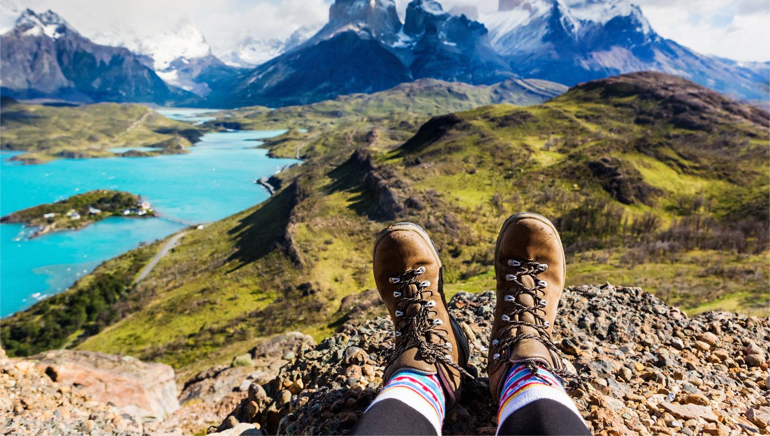 Girl,Hiking,Boots,Having,Fun,And,Enjoying,Wonderful,Breathtaking,Mountain